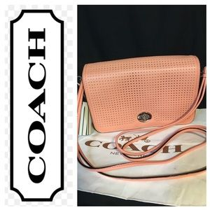 Coach Legacy Perforated Leather Penelope Coral Bag